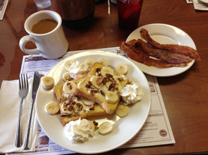 Breakfast special - bananas and cream cheese stuffed French toast